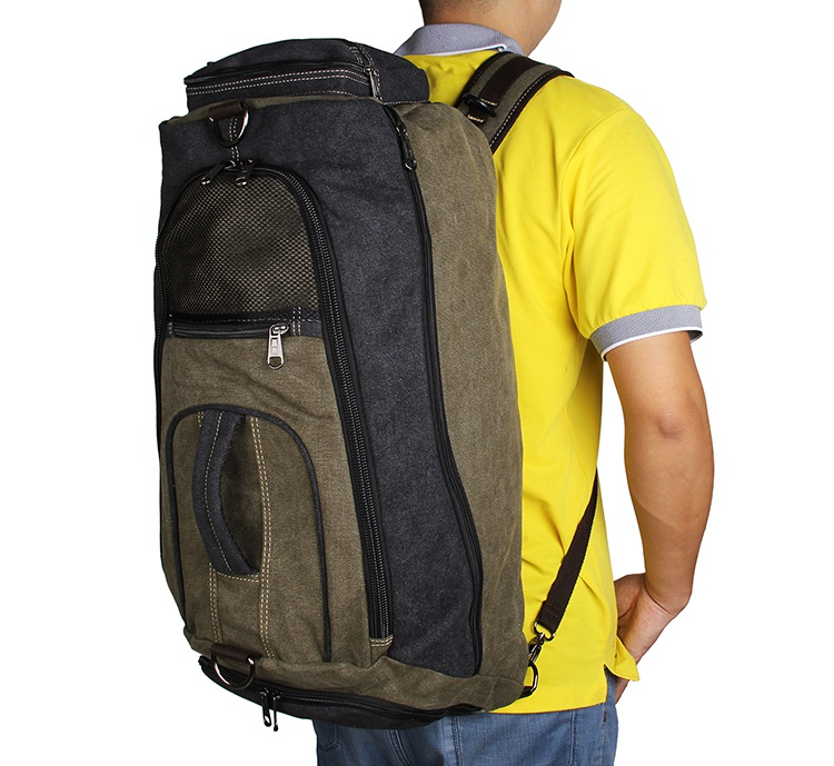 9025N Army Green+Black Durable Canvas Multifunction Mountainnering Rucksack for Laptop