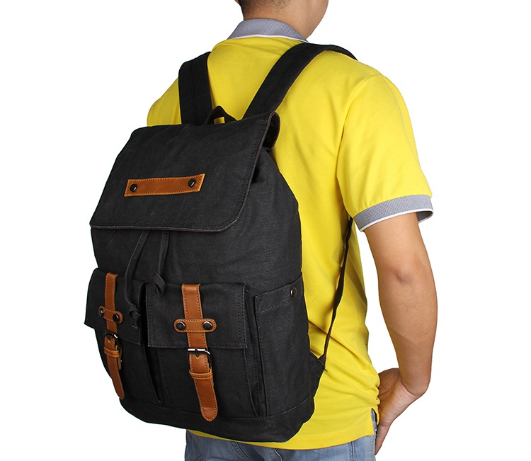9026A Black Durable Canvas Backpack Rope Top Clousre Book Bag for Young