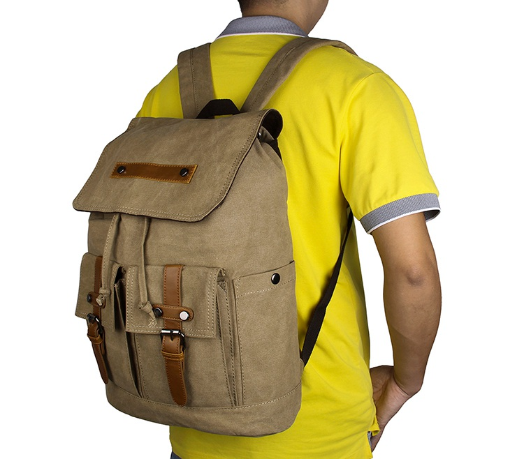 9026N Durable Canvas Light Army Green Rope Top Clousre Hiking Knapsack Laptop Backpack