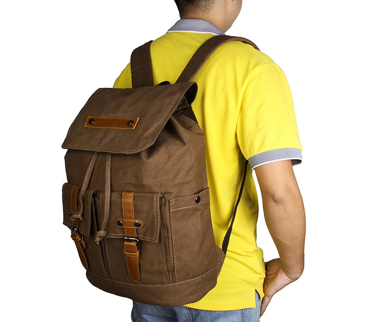9026C Wholesale JMD Brand Durable Canvas Rope Top Clousre Laptop Backpack Book Knapsack Coffee