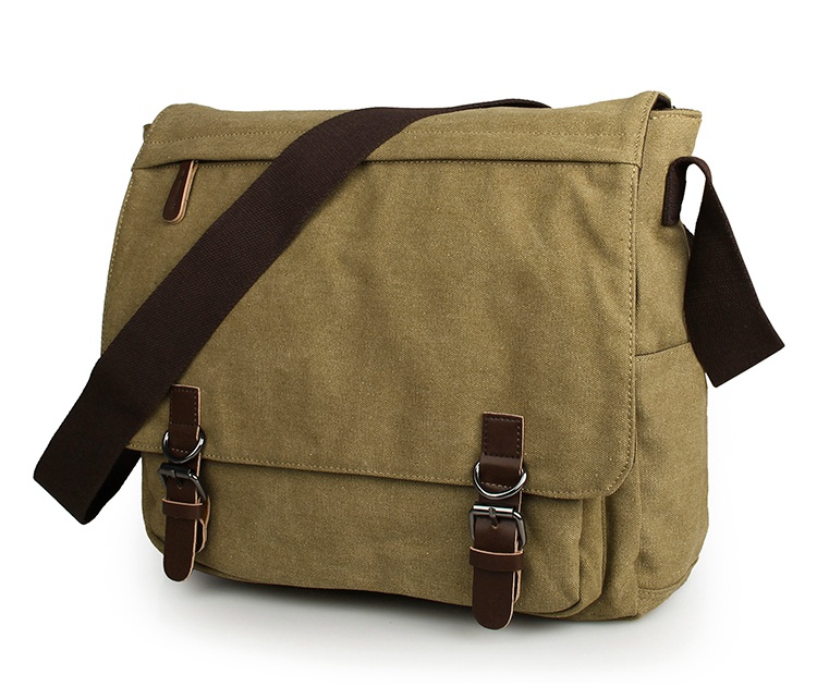 9027N Leather Trimming 16Oz Canvas Travel Bookbag Young Laptop Messenger Bag