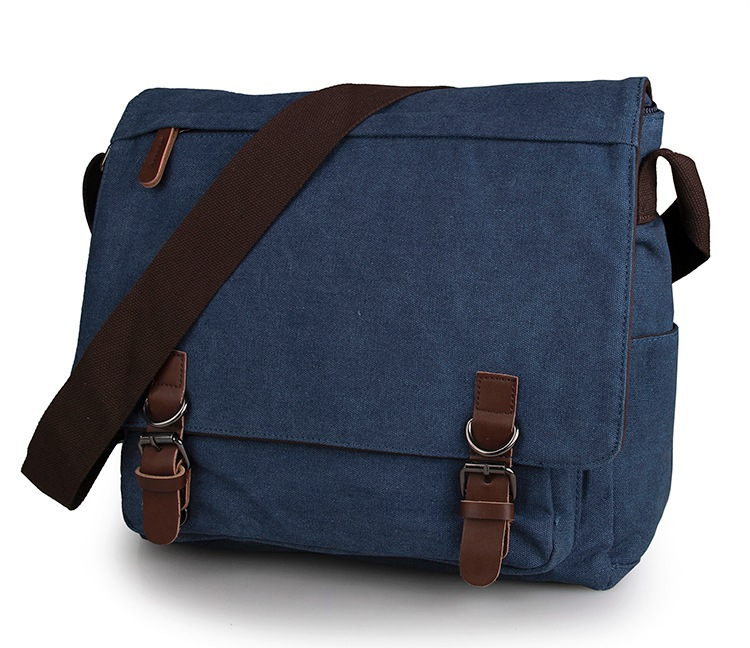 9027K Blue Durable Canvas Messenger Bag Cross Body Book Bag