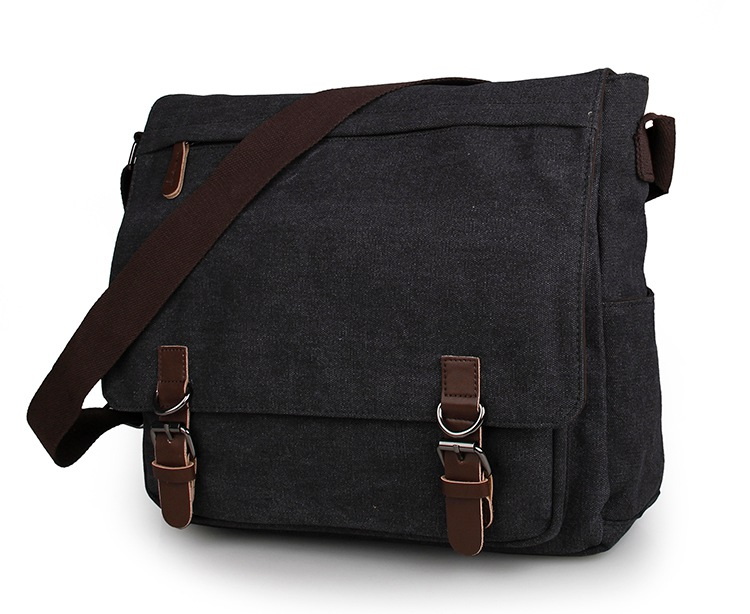 9027A Black Excellent Quality Leather Trimming 16Oz Canvas Travel Bookbag Should Bag for Men