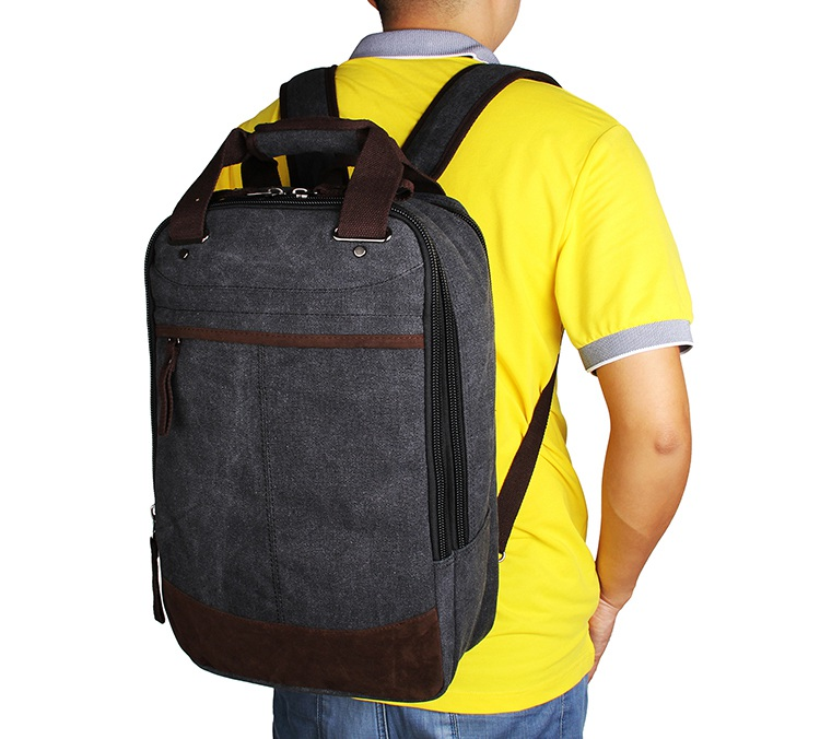 9028A Fashionable Black High Canvas Quality Useful Laptop Fancy Backpack for Men Book Bag
