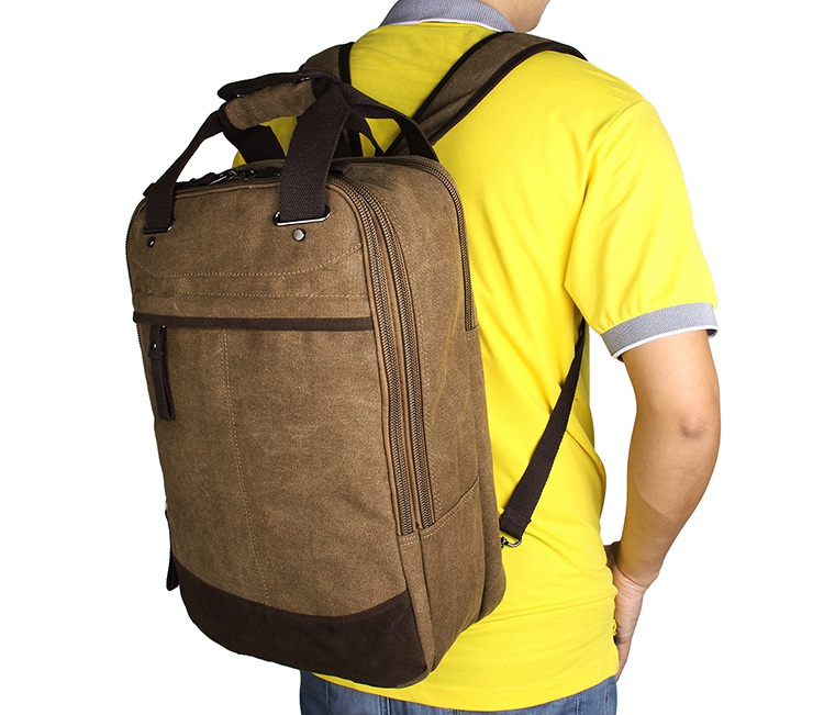 9028C Multi-function Popular Top Quality Canvas Coffee-Brown Large Capacity Mens Rucksack Tote Bag