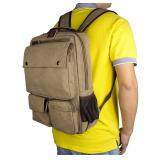 9022B Light Brown Durable Canvas Rucksack Bookbag Unisex Over The Shoulder School Bags