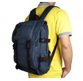 9023K Blue Top Quality Canvas Rucksack Durable Bookbag Hiking Backpack for Men