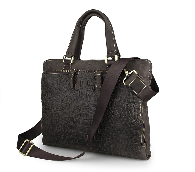 7294R Dark Brown Real Cow Leather Trend Crocodile Handbag Laptop Briefcase for Men