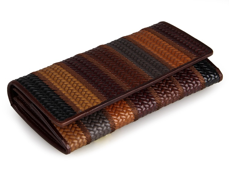 8093-1C Coffee+Brown+Black+Grey Vintage Genuine Cow Leather 3 Folded Fringe Pattern Women Money Holder Folded Wallet