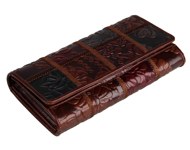 8094-2C Coffee+Brown+Black Vintage Genuine Cow Leather Square Flowery Women Money Holder
