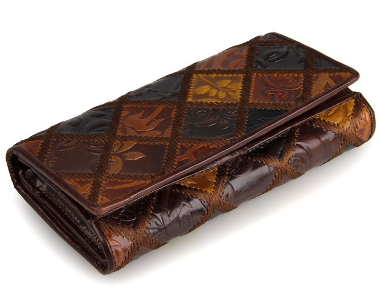 8094-3C Rhombus Flowery Coffee+Brown+Black Vintage Genuine Cow Leather Women Wallets