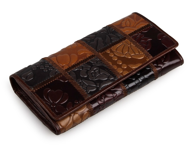 8095-2C Coffee+Brown+Black+Grey JMD Brand Vintage Genuine Cow Leather Square Pattern Lady Wallets Money Holder