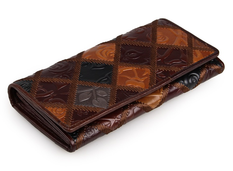 8095-3C Coffee+Brown+Black+Grey JMD Brand Wholesale Vintage Genuine Cow Leather Rhombus Pattern Women Wallet for Phone