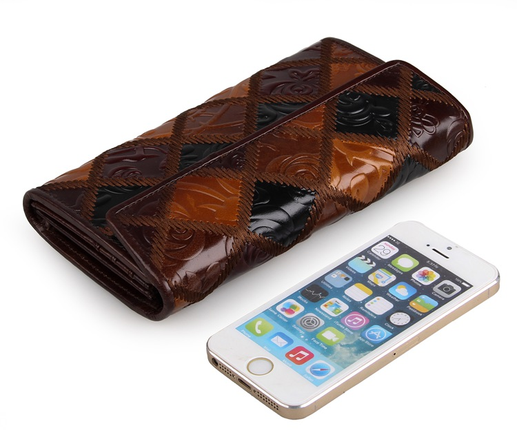 8097-3C Coffee+Brown+Black Vintage Genuine Cow Leather 3 Folded Rhombus Pattern Womens Leather Wallets Phone Holder