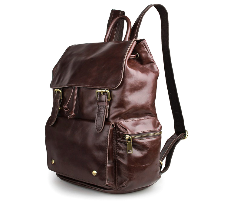 7249C-1 Coffee Cowboy Vintage Leather Unisex Bookbag Schoolbag Travel Hiking Backpack