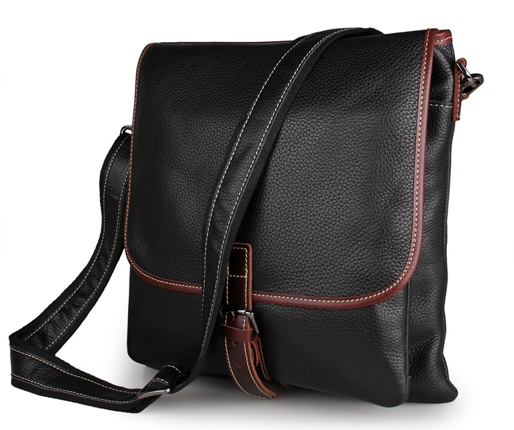 7312A Vintage Style Men's Messenger Crazy Horse Leather Shoulder Crossbody Bag for Ipad