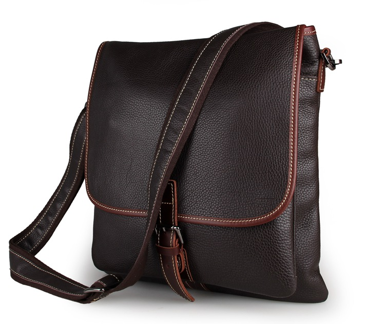 7312C Coffee Vintage Style Men's Messenger Crazy Horse Leather Men's Messenger Bag for Notebook