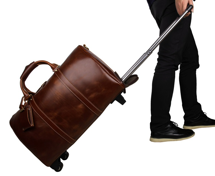 7077LB Brown Cow Leather Travel Tote Trolley Dispatch Bag for Men