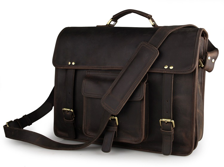 7234R-1 JMD Brand Vintage Leather Men's Dark Brown Briefcase Handbag Messenger Bag