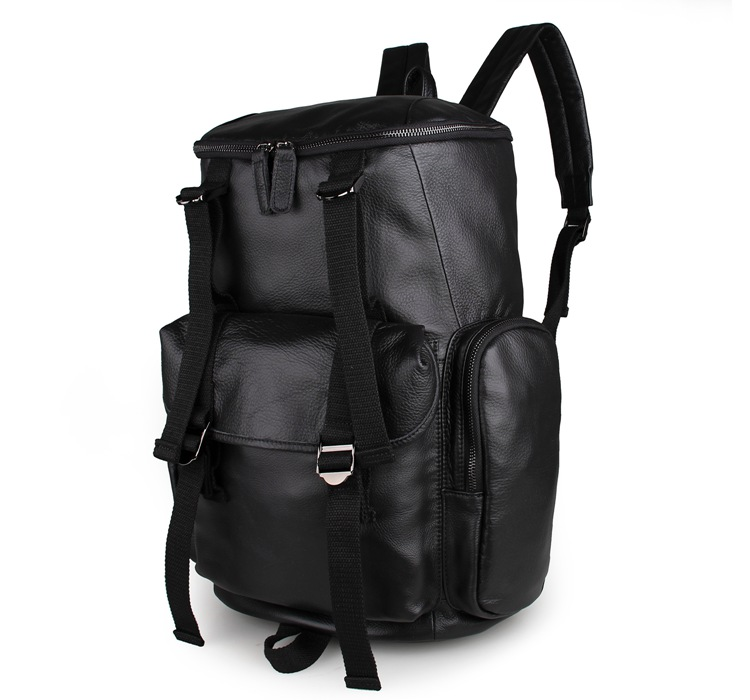 7318A Black Big Capacity Genuine Cow Leather Rucksack Travel Backpack
