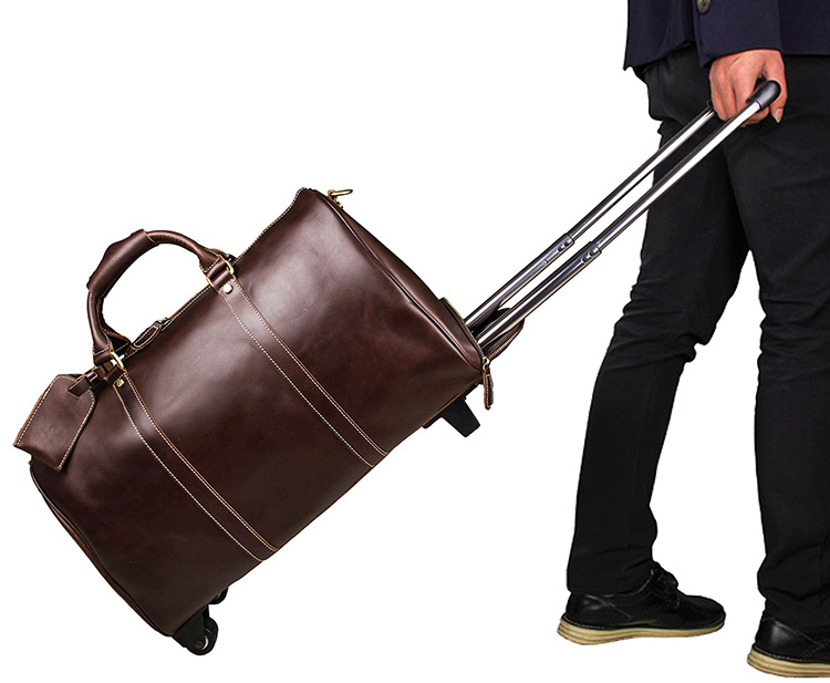7077LC Unisex Coffee Color Genuine Leather Travel Tote Bag Trolley