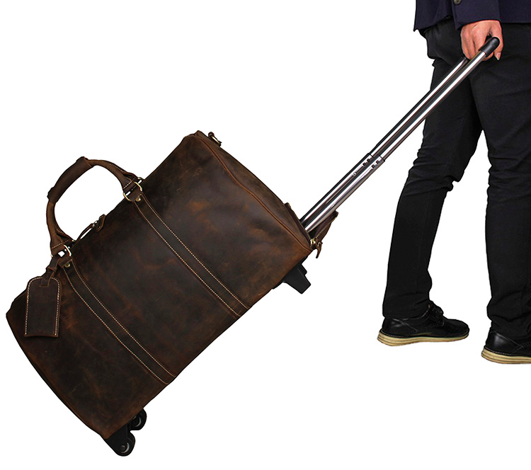 7077LR Dark Brown Crazy Horse Leather Travel Tote Trolley Dispatch Bag for Men