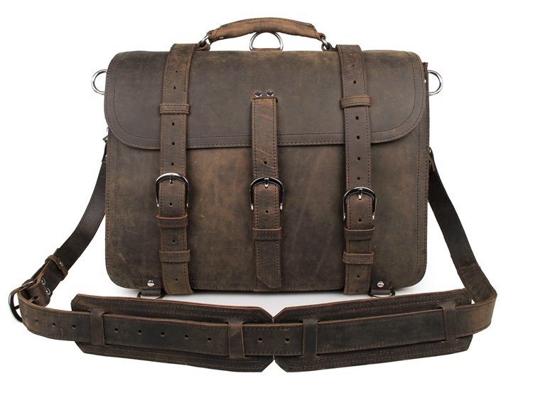 7072R-3 Brown Cow Leather Huge Capacity Men's Briefcase Backpack
