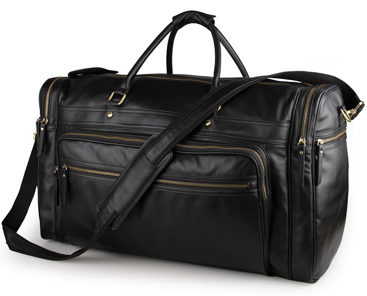 7317-1A Black Cow Leather Tote Men's Duffle Travel Bag