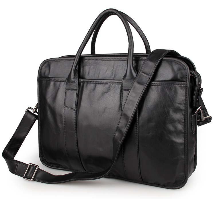 7321A Black Guarantee Genuine Cow Leather Briefcase Laptop Bag Mens