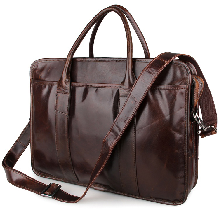 7321C Brown Guarantee Genuine Cow Leather Briefcase Laptop Bag Mens