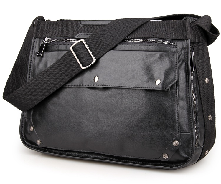 7323A Black Cowboy Leather Mens Cross Body Bag Sling Bag
