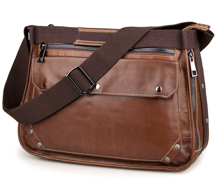 7323B Brown Cowboy Leather Mens Cross Body Bag Messenger Bag