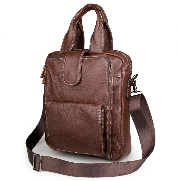7266B Brown Genuine Cow Leather Men's Handbag Small Sling Notebook Bag