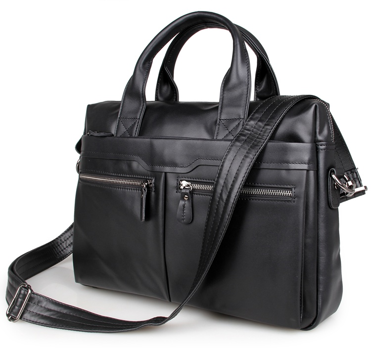 7122A-1 Black Vintage Leather Mens Laptop Bag Messenger Handbag China Supplier