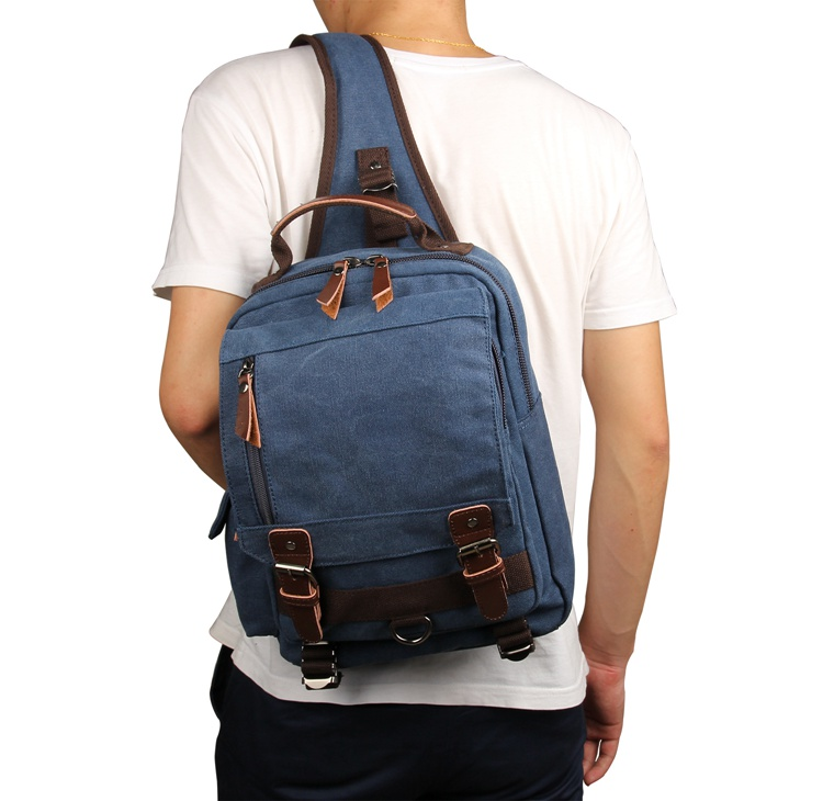 9031K Blue Canvas Chest Bag Shoulder Bag Backpack