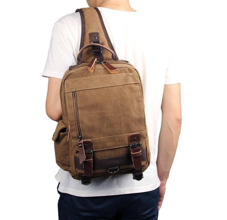 9031C Coffee Canvas Chest Bag Sling Bag for Boy