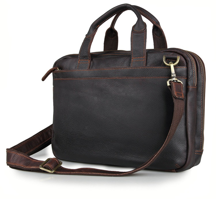 7092Q Cow Leather Men's Dark Brown Laptop Bag Handbag Briefcase Messenger