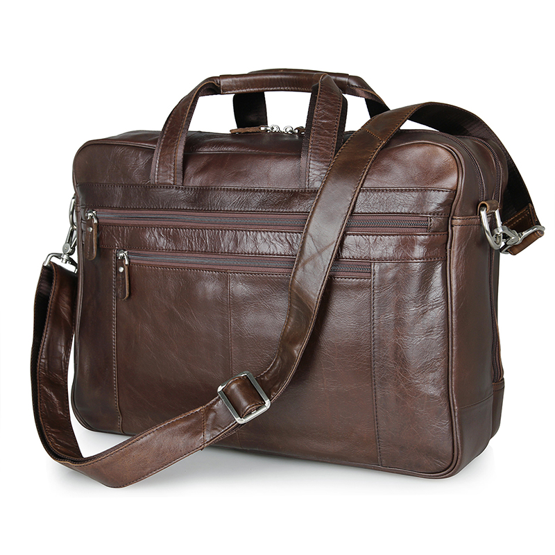 7319C Coffee Genuine Cow Leather Mens Laptop Bag Business Travel Bag