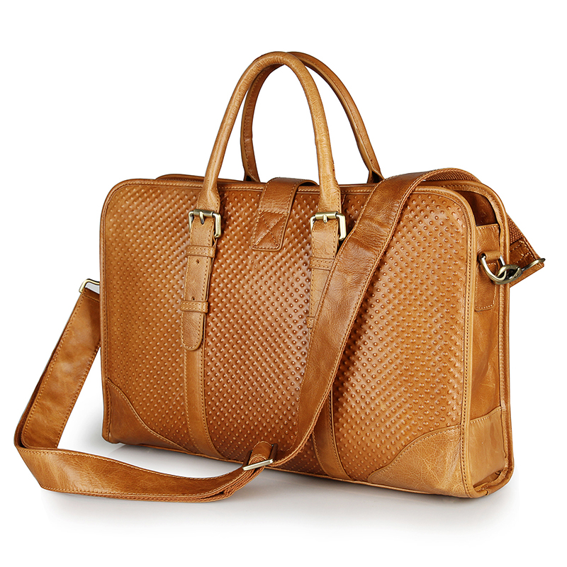 7339B Brown Newest Products Genuine Cow Leather Women Briefcase Handbag