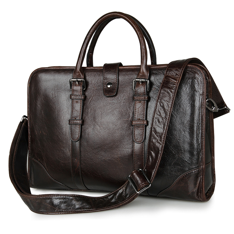 7339C Coffee Genuine Cow Leather Men Briefcase Laptop Document Handbag