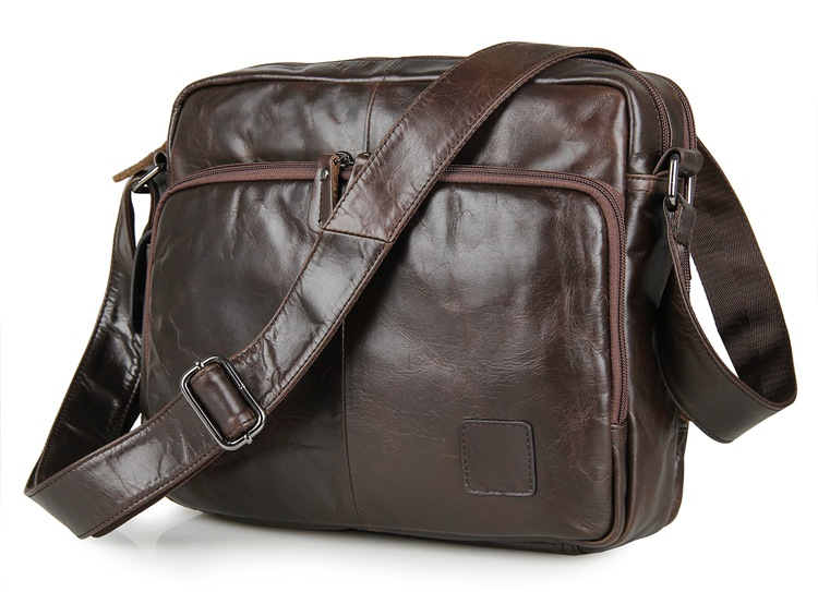 7332C Vintage Tan Leather Trendy Messenger Bag Men Purse