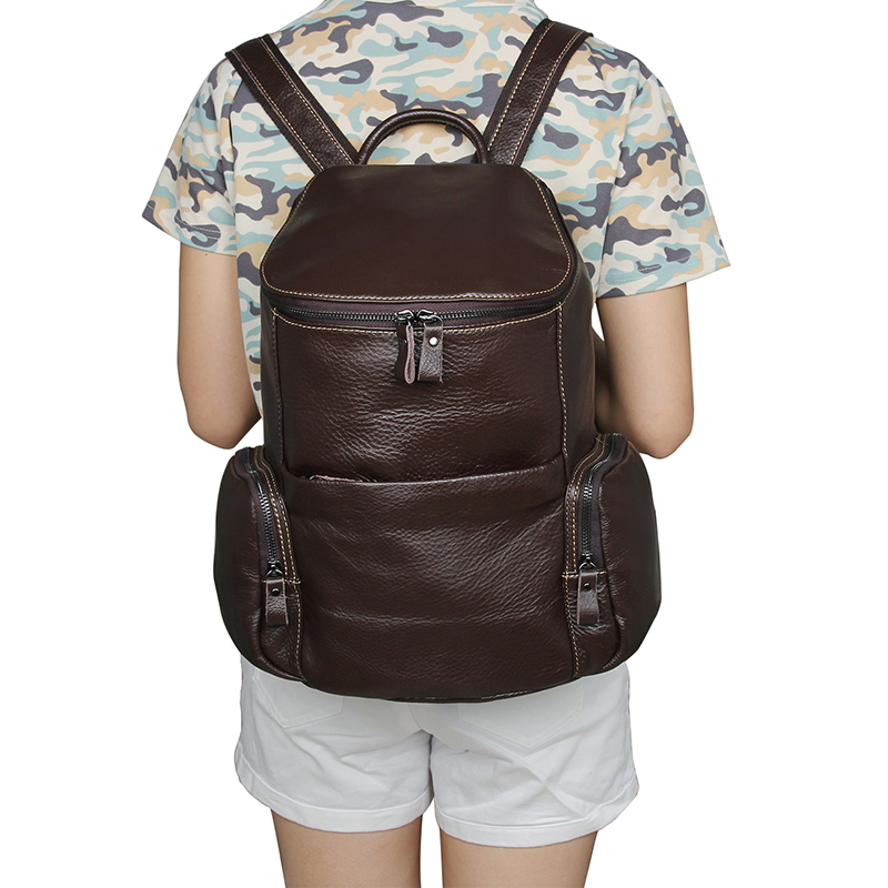 7336C New Designs Vintage Genuine Leather Brown Small Backpack for Girls Women Double Backpack