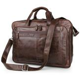 7320C Coffee Genuine Cow Leather Mens Laptop Bag Business Travel Bag