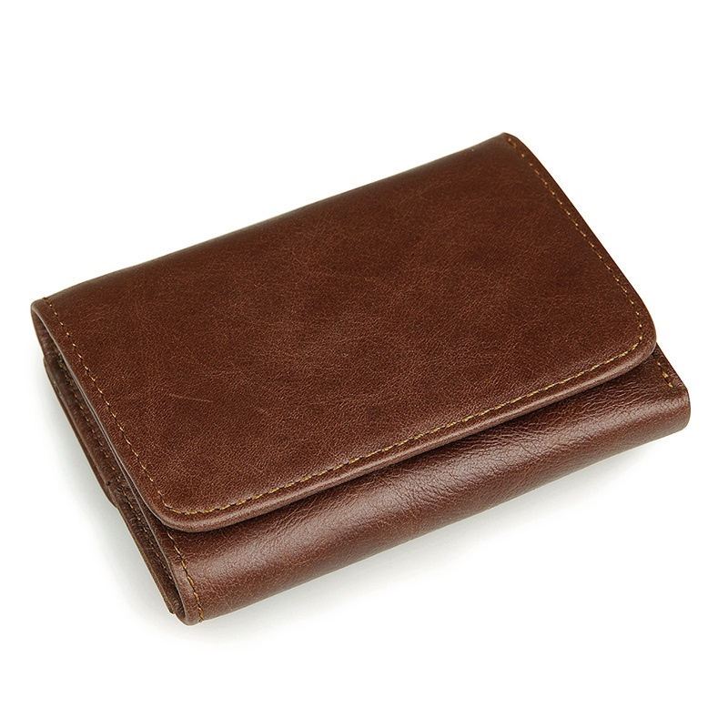 R-8106C New Arrival Coffee Men's Cow Leather RFID Card Holder