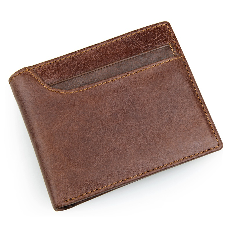 R-8104C Coffee Men's Cow Leather RFID Money Holder