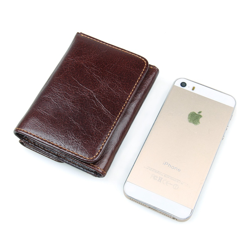 R-8106Q Hot Selling Coffee Cow Leather RFID Money Holder Men