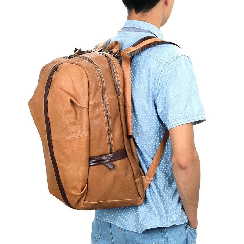 7340B-1 JMD Brand 2016 New Arrival Genuine Cow Leather Mens Leather Backpack Laptop Travel Rucksack
