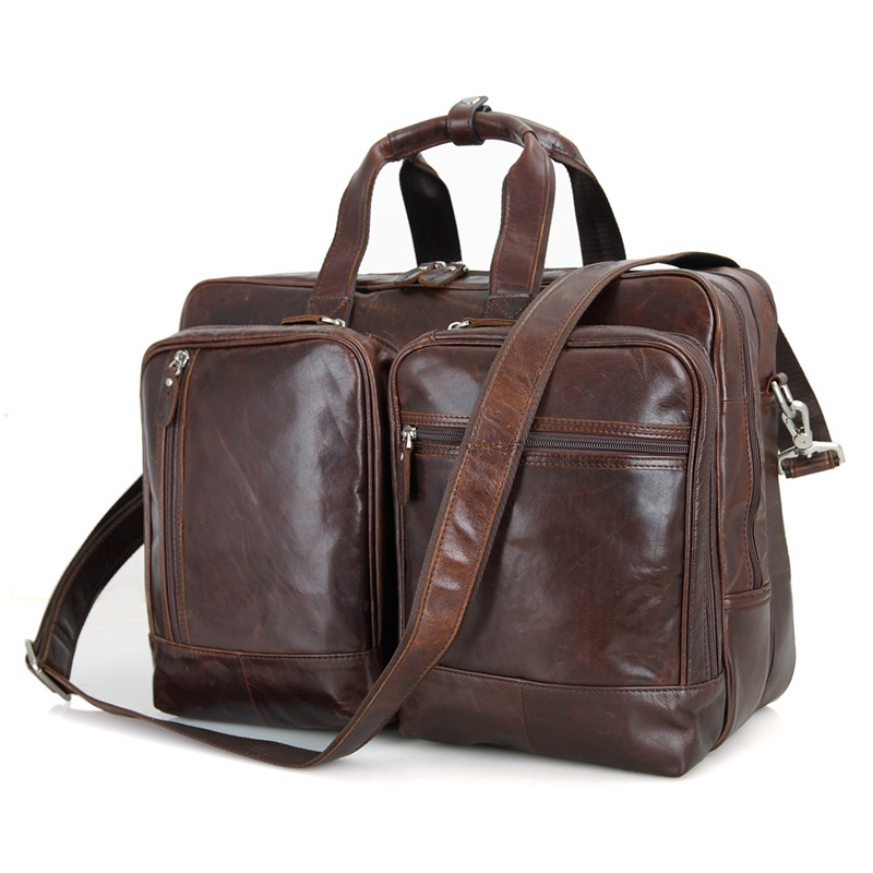 7343C 2016 New Arrival Genuine Cow Leather Mens Leather Handbag Travel Business Laptop Bag