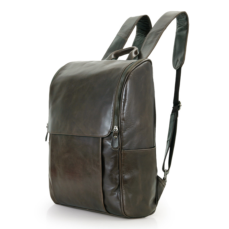 7344J Wholesale Genuine Leather Cowhide Leather Knapsack Boy Supplier