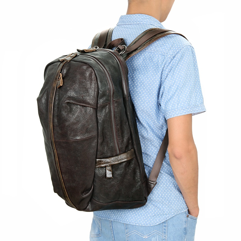 7340Q Chocolate Genuine Cowhide Rucksack Daily School Rucksack Supplier